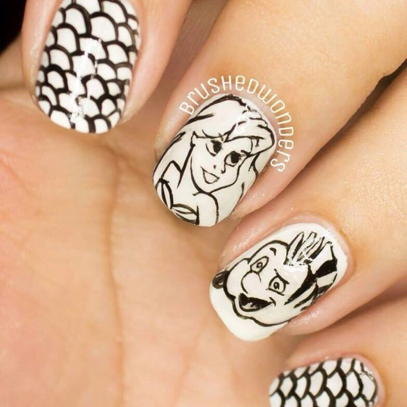 The Little Mermaid in Black and white nail art by Kate