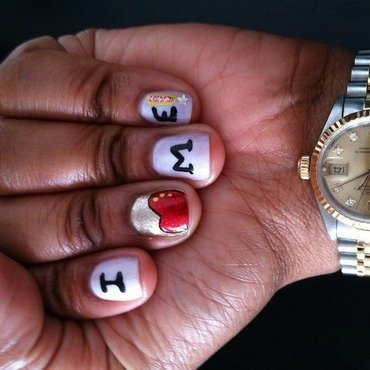 I (Heart) Me!  nail art by YadasNails