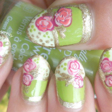 Green & Gold Vintage Roses Stiletto Nails  nail art by madjennsy Nail Art