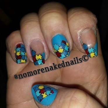 Autism awareness nails nail art by nomorenakednails