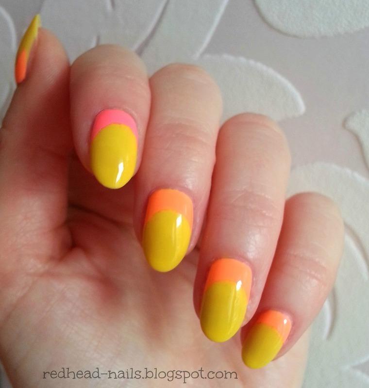 Sunny neons nail art by Redhead Nails