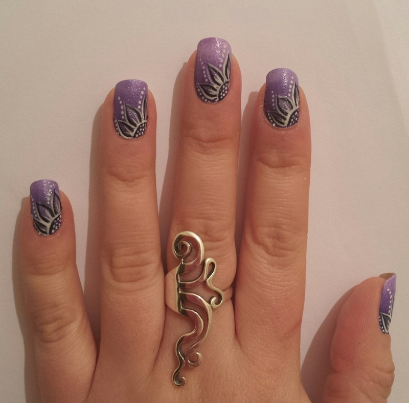 Ombre purple with floral design nail art by Danielle  Hails