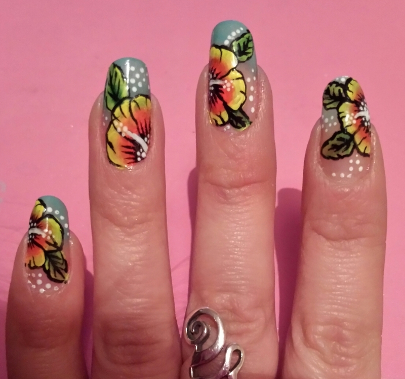 bright hibiscus nail art by Danielle  Hails