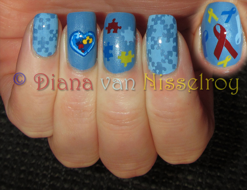 Autism Awareness nail art by Diana van Nisselroy
