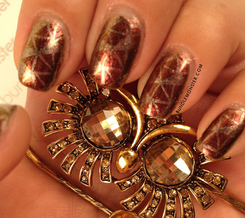 Golden Angles nail art by Bundle Monster