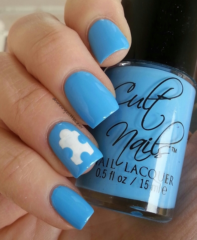 Autism Awareness Day nail art by Debbie D