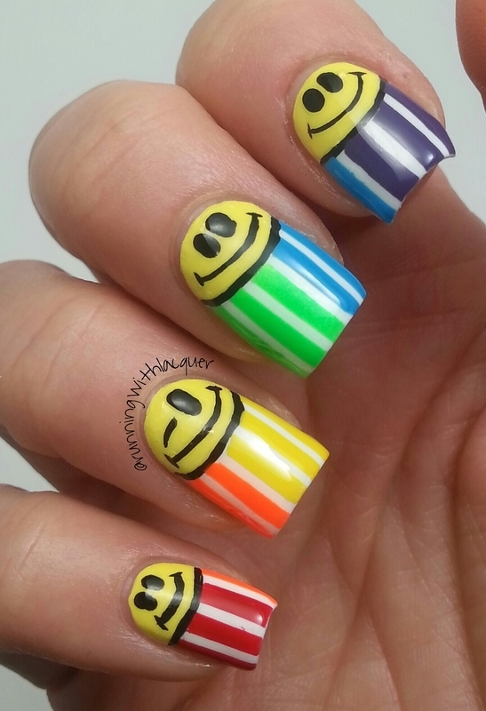 Winking Half Moon Rainbow nail art by Debbie D