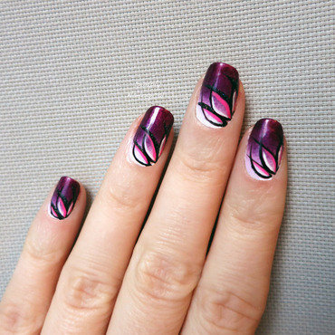 Purple lotus flower gradient nail art by simplynailogical