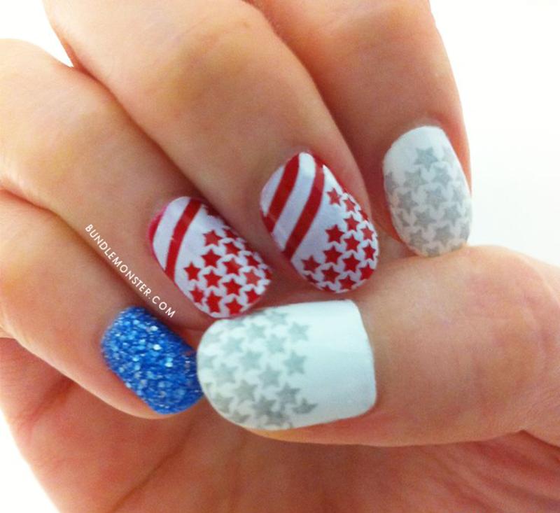 Patriotic Stars nail art by Bundle Monster
