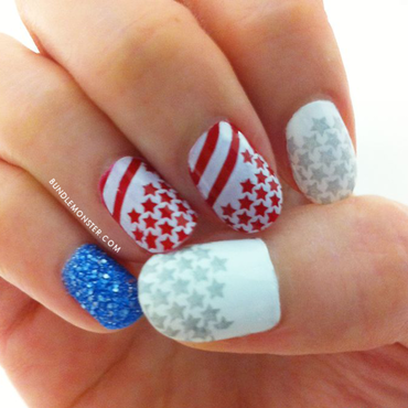 Patriotic Stars nail art by Bundle Monster
