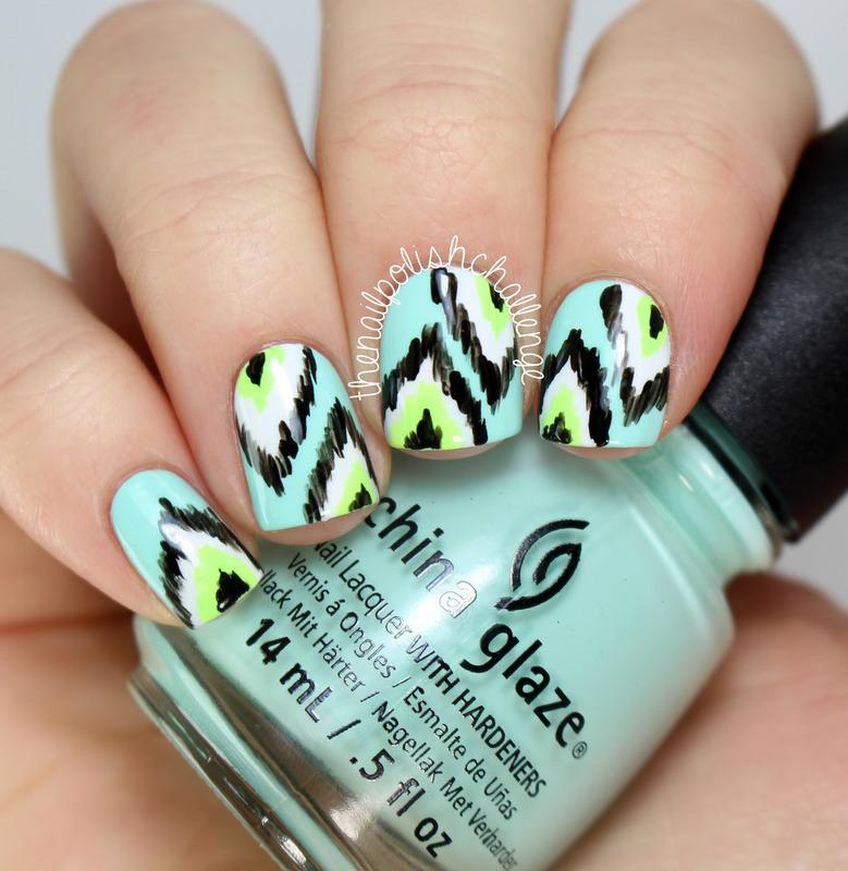 Neon Ikat Nail Art! nail art by Kelli Dobrin