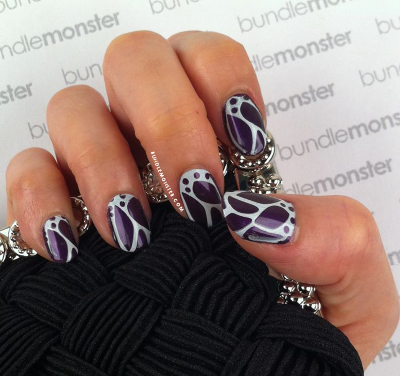 Midnight Monarch nail art by Bundle Monster