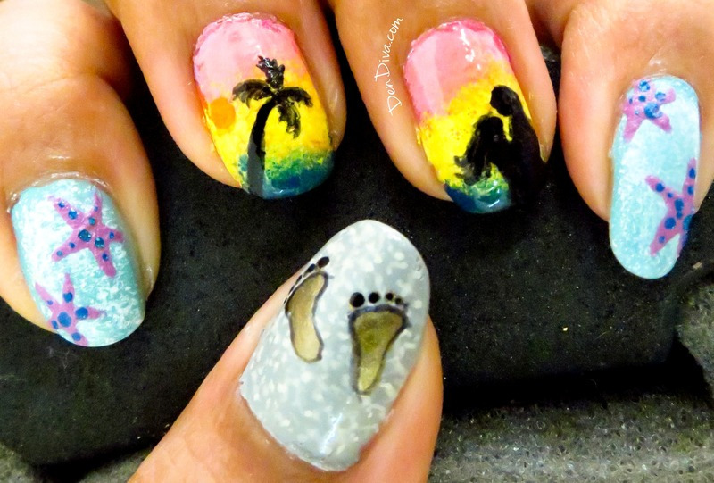 Summer Beach Nail Art nail art by Madhu DenDiva