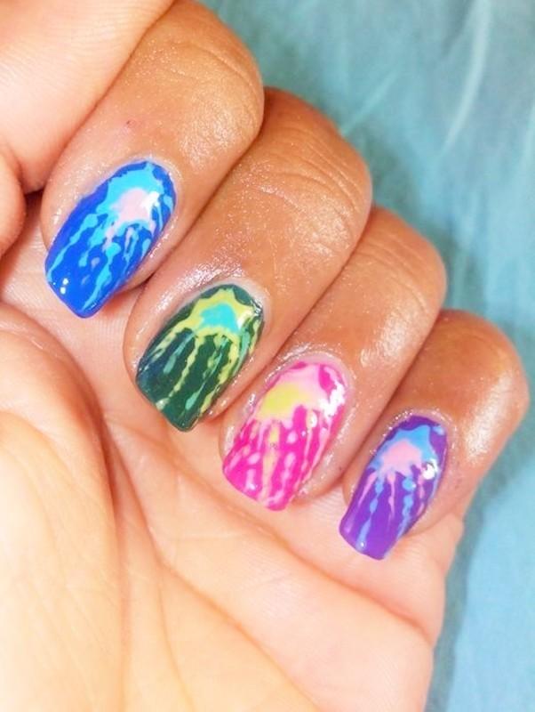 Colorful Nails - Holi Special nail art by Nailfame
