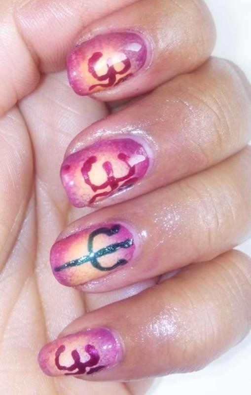 Gradient Nails - Maha Shivratri Special nail art by Nailfame