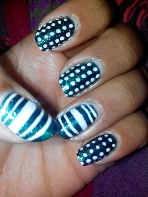 Green and White  nail art by Nailfame