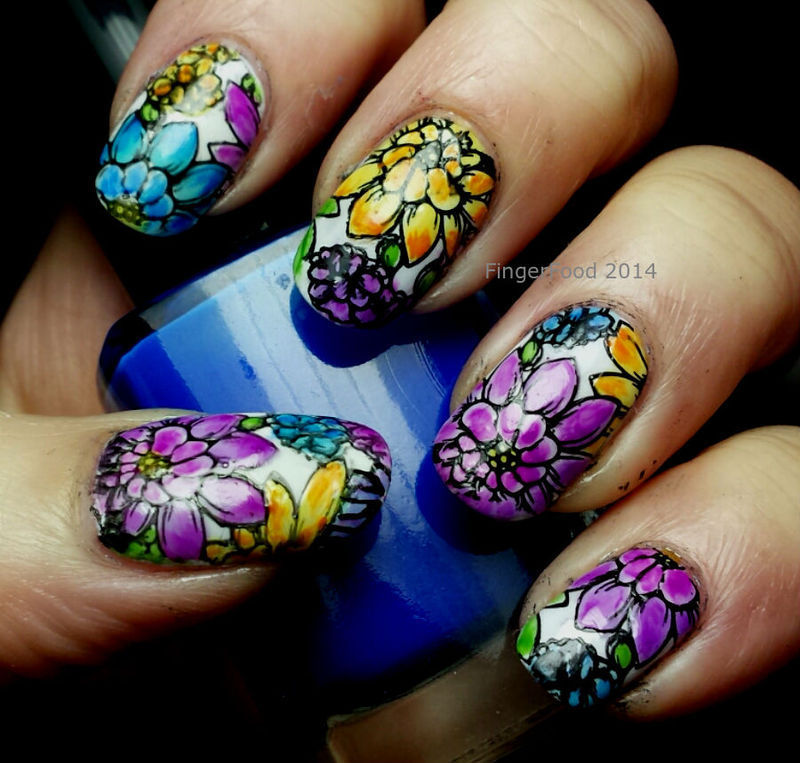 Leaded Light Stamping nail art by Sam