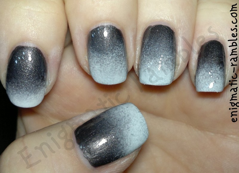 Grey / White Gradient Nails nail art by Enigmatic Rambles