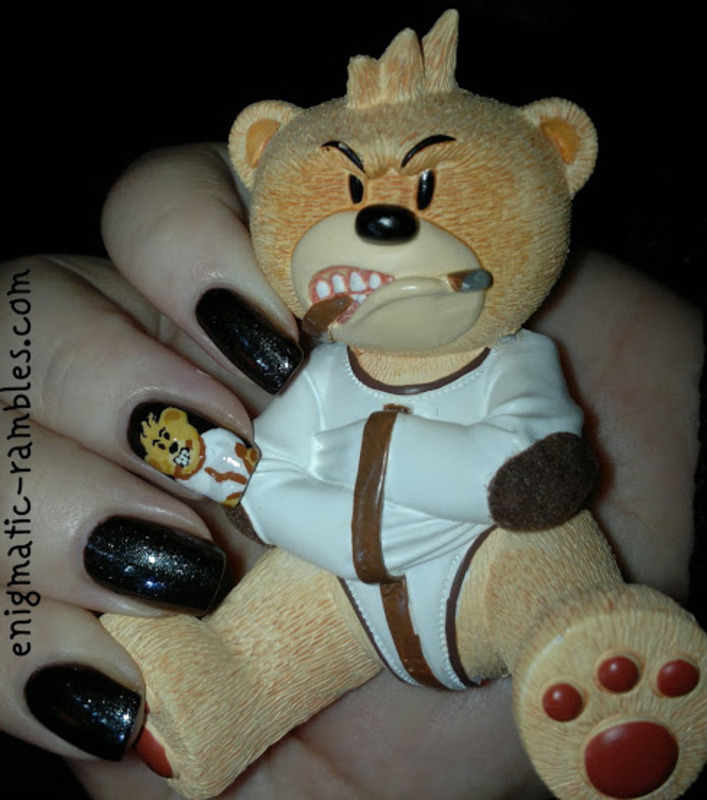 Bad Taste Bear - Psycho nail art by Enigmatic Rambles