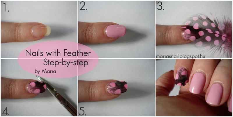 Nails with Feather Tutorial nail art by Maria