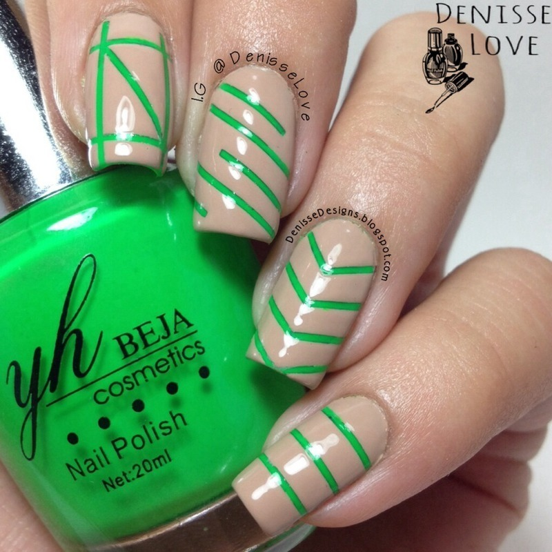Neon + Nude nail art by Denisse Love