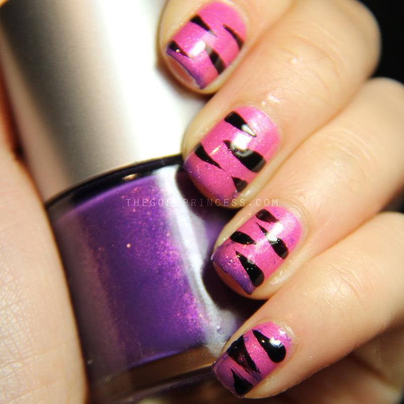 Pink Tiger Stripes nail art by Paulina