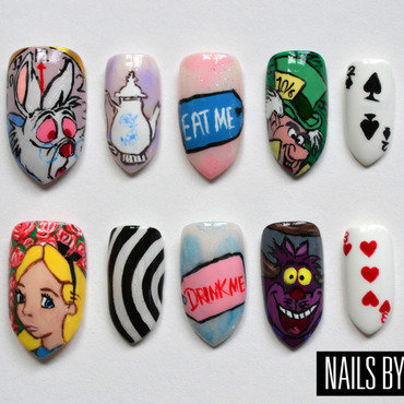 Alice in Wonderland  nail art by Bethany Drewe