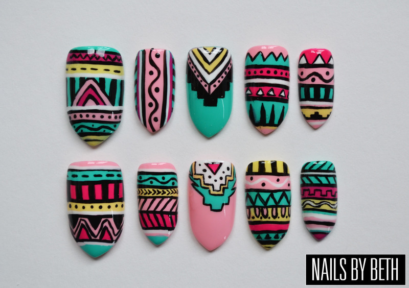 Aztec/Tribal   nail art by Bethany Drewe