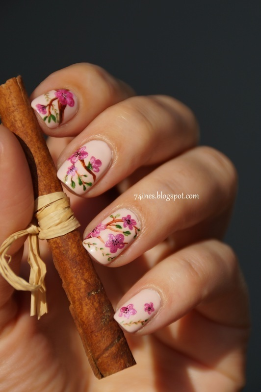 Cherry blossom nail art by 74ines