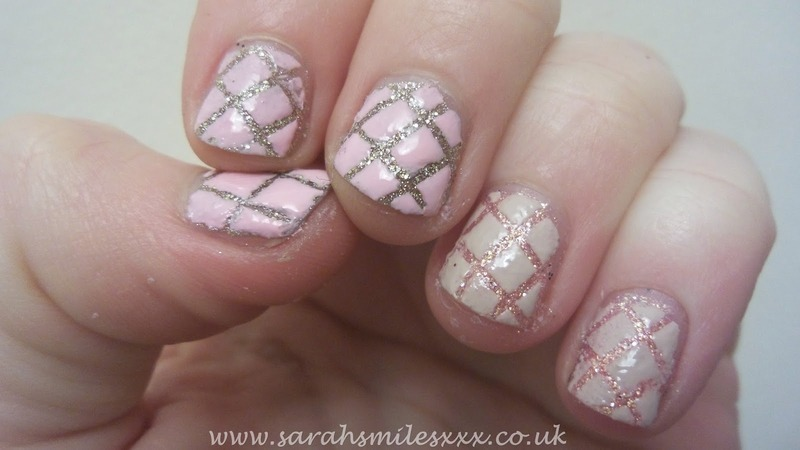 Quilted Glitter nail art by Sarah Clarke