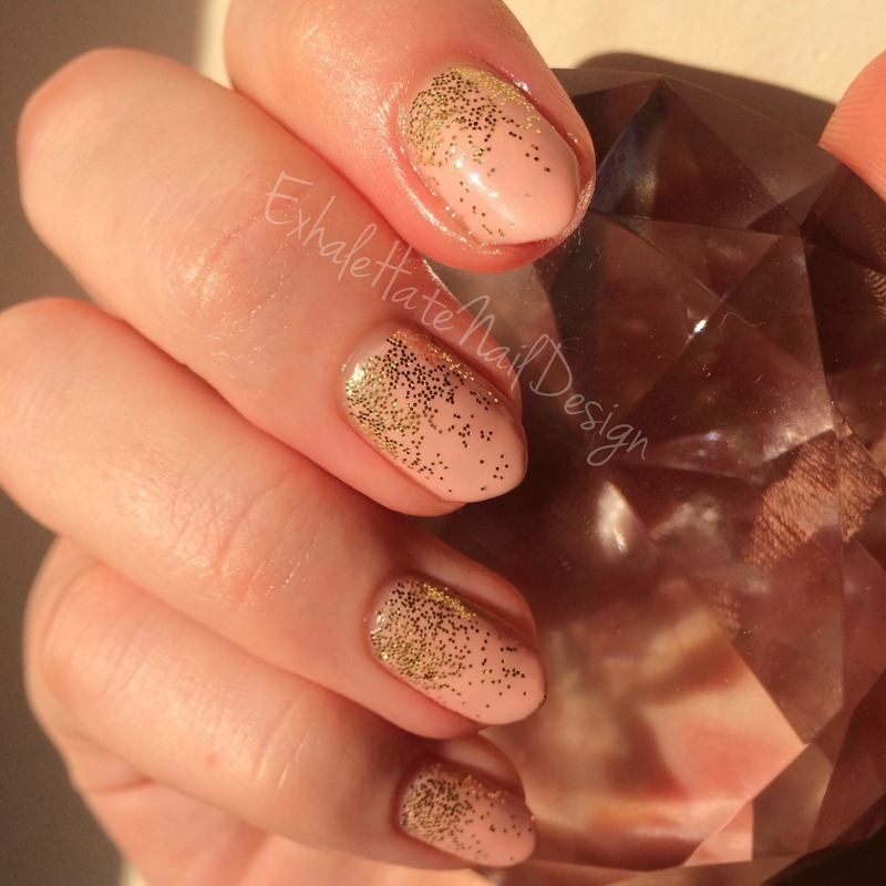 Nude Glitter Gradient nail art by Courtney Haines