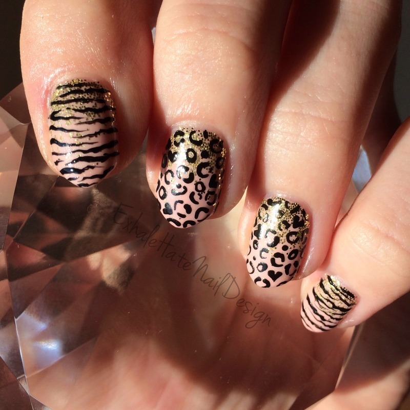 Gold & Nude Animal Print  nail art by Courtney Haines