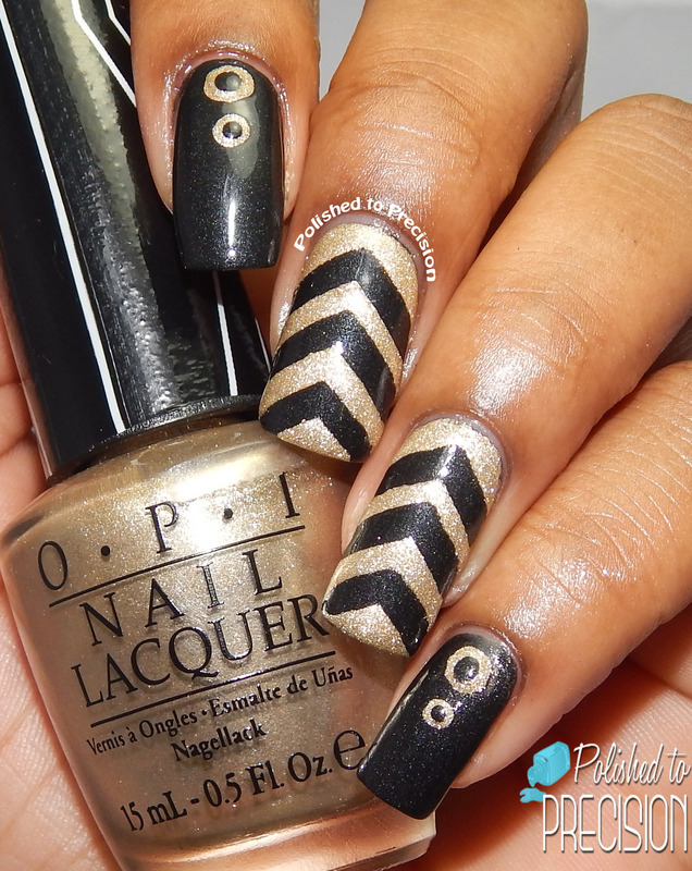Black & Gold nail art by Tiffany  (Polished to Precision)