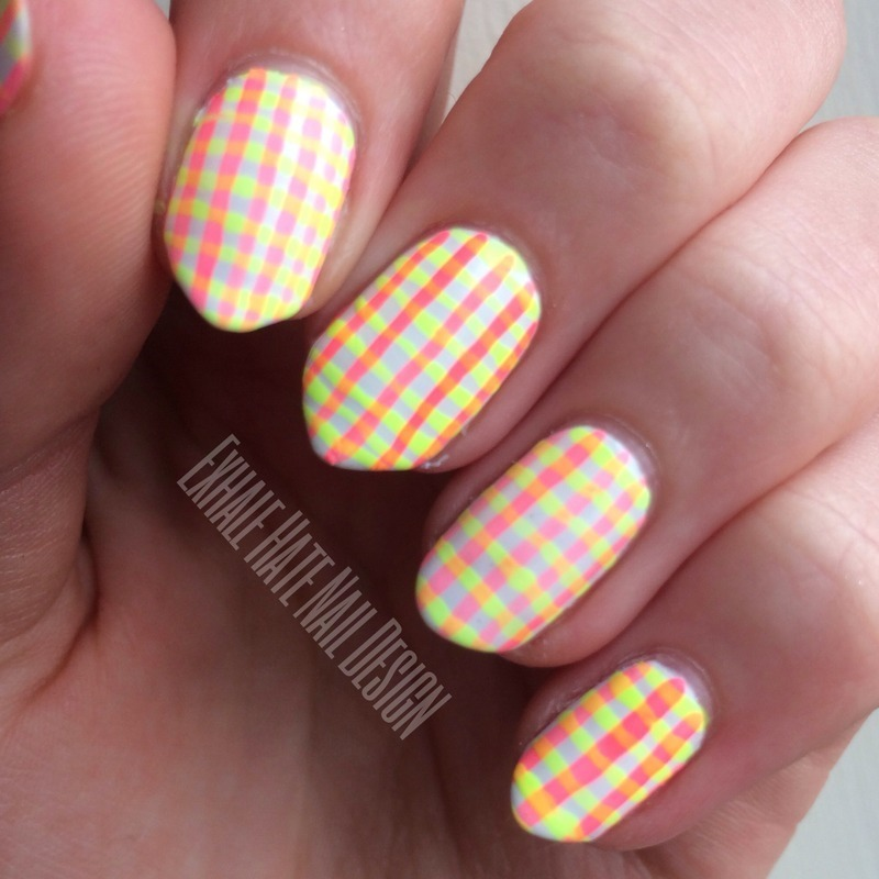 Neon Plaid nail art by Courtney Haines