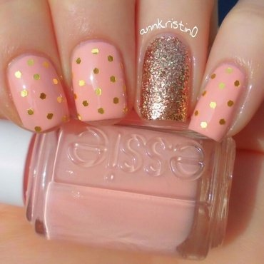 Gold Polka Dots nail art by Ann-Kristin