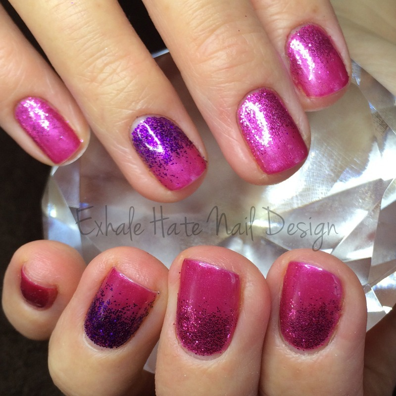 Shellac Glitter Gradient nail art by Courtney Haines