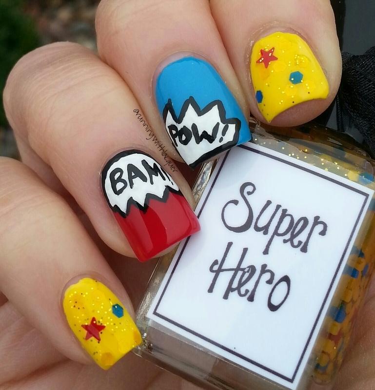 Super Hero Comics nail art by Debbie D