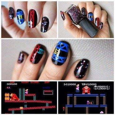 Donkey Kong nails nail art by simplynailogical