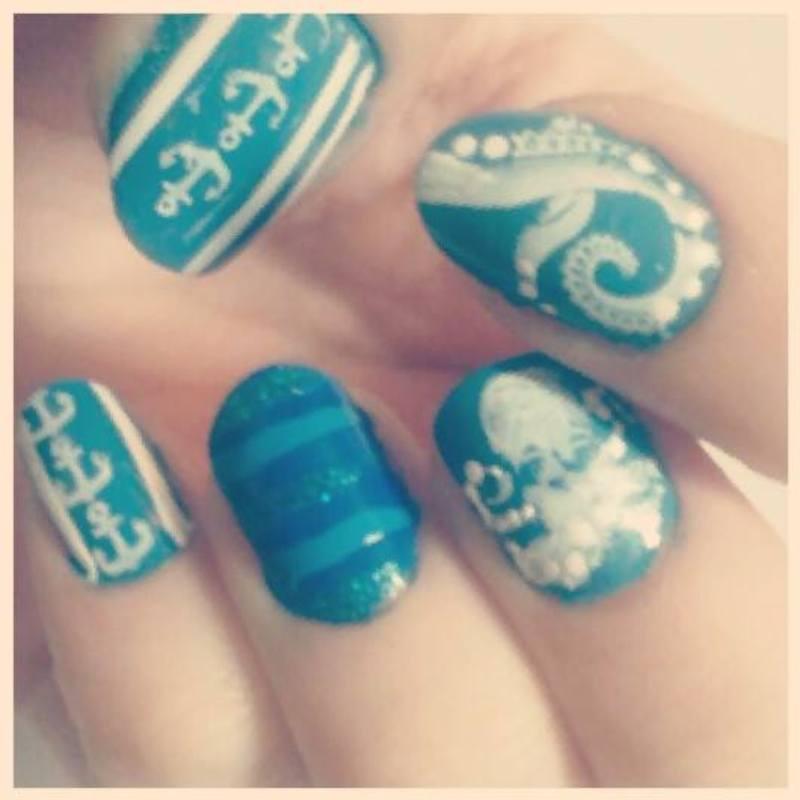 Nautical nail art by Ashley