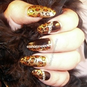 Glam Leopard nail art by  Kyleigh  'Handmade By Kyleigh'