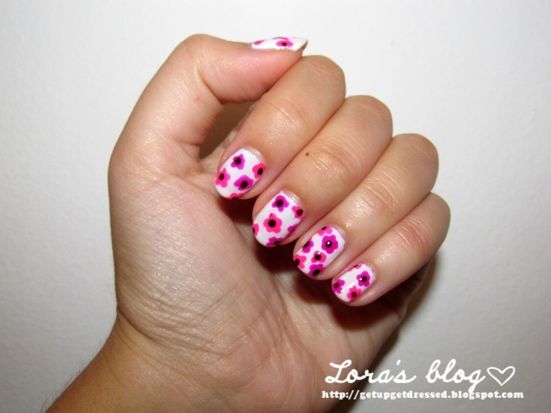 neon flowers  nail art by Lora