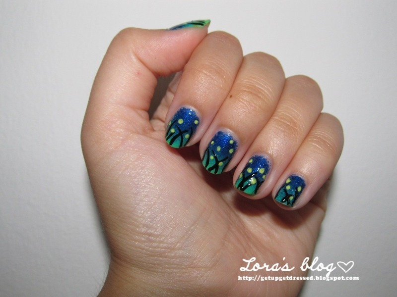 fireflies nail art by Lora