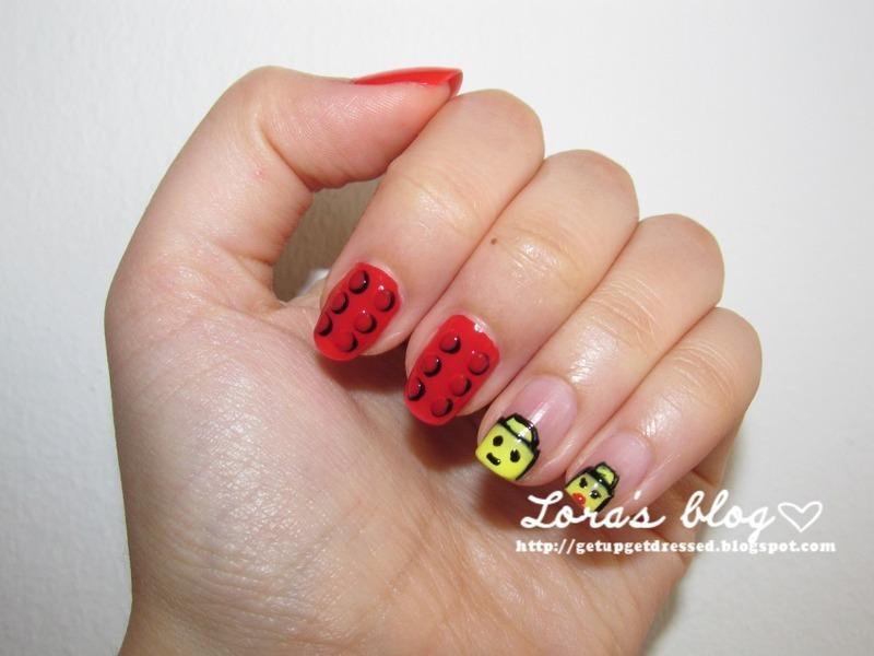 lego nails nail art by Lora