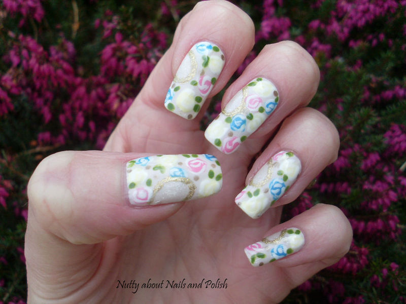 Freehand Floral Nails nail art by Tracey - Bite no more