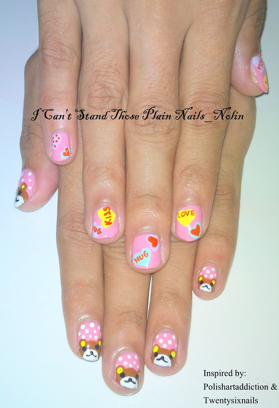Rilakuma & Love Nails  nail art by Arnolin Modokh