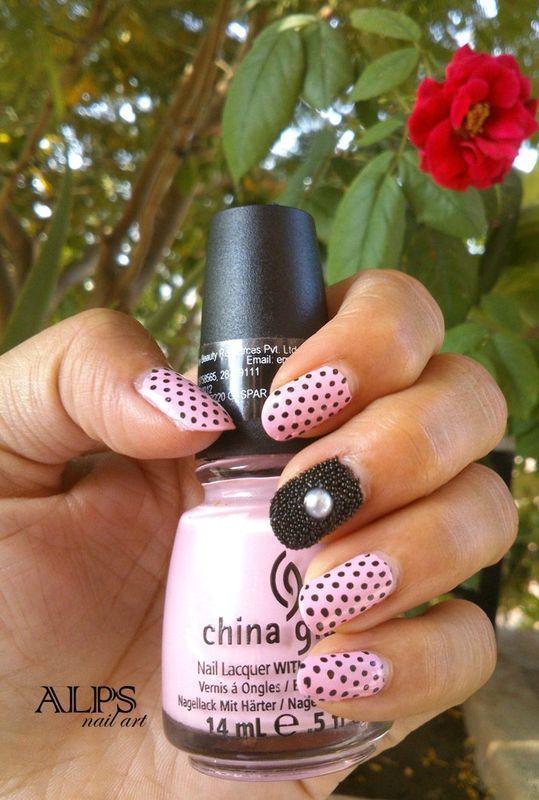 Polka dots with Caviar Nail Art by Alpsnailart  nail art by Alpsnailart