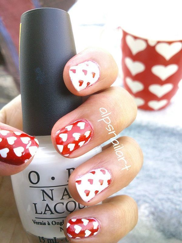 Heart Nails by Alpsnailart nail art by Alpsnailart