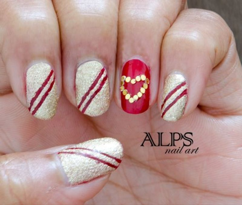 Red and Golden Nails by alpsnailart nail art by Alpsnailart