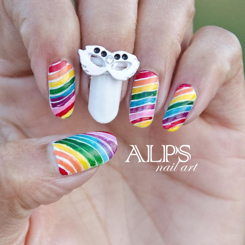 Rainbow Nails by Alpsnailart nail art by Alpsnailart