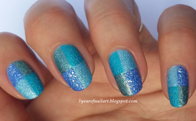 Blue squares nail art by Margriet Sijperda